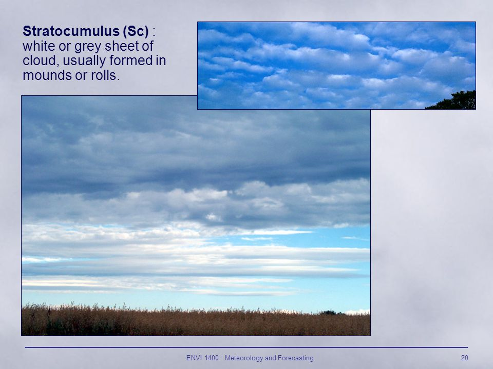 ENVI 1400 : Meteorology and Forecasting20 Stratocumulus (Sc) : white or grey sheet of cloud, usually formed in mounds or rolls.