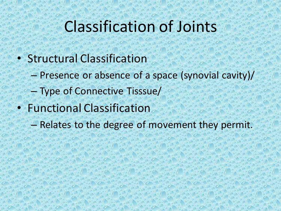 Classification of Joints Structural Classification – Presence or absence of a space (synovial cavity)/ – Type of Connective Tisssue/ Functional Classification – Relates to the degree of movement they permit.