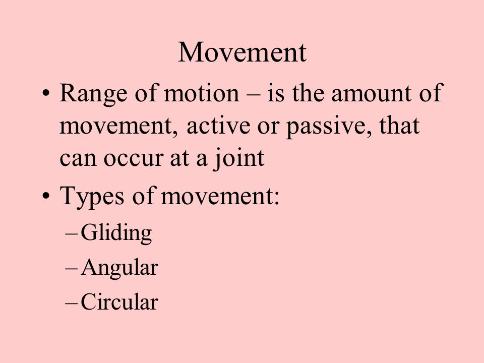 –Combination –(Special movement) –Gliding movement – Where surfaces slide/glide over each other.