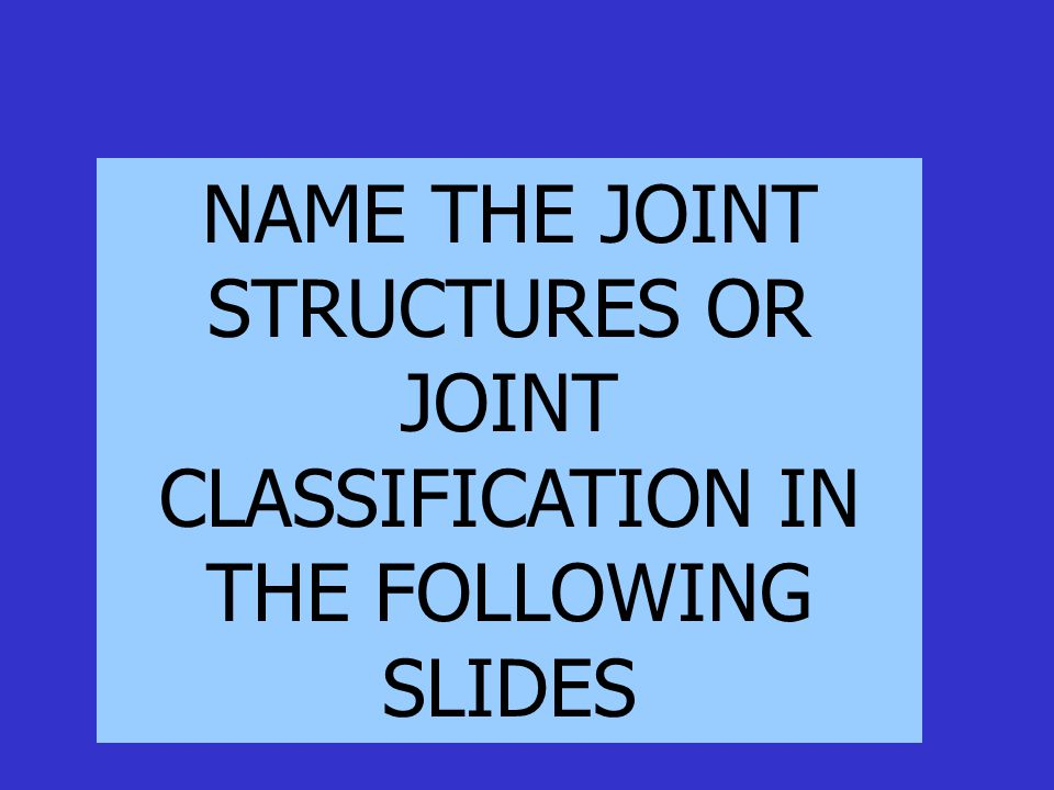 NAME THE JOINT STRUCTURES OR JOINT CLASSIFICATION IN THE FOLLOWING SLIDES