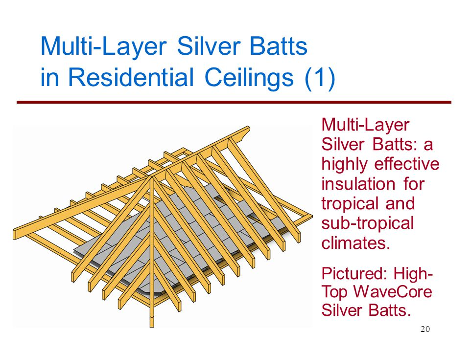20 Multi-Layer Silver Batts in Residential Ceilings (1) Multi-Layer Silver Batts: a highly effective insulation for tropical and sub-tropical climates
