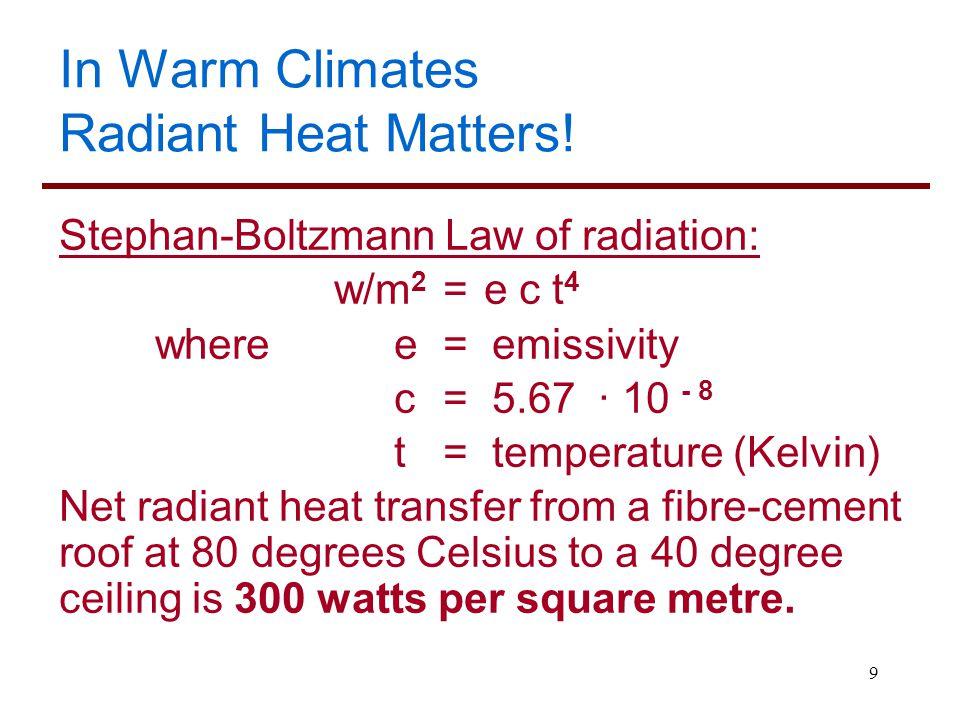 9 In Warm Climates Radiant Heat Matters! Stephan-Boltzmann Law of radiation: w/m 2 = e c t 4 where e = emissivity c = 5.67 ∙ 10 - 8 t = temperature (K