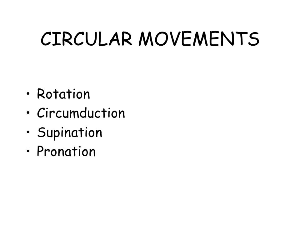 CIRCULAR MOVEMENTS Rotation Circumduction Supination Pronation