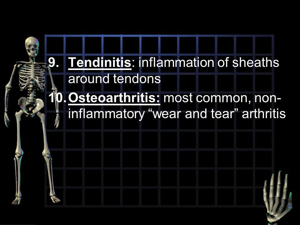 "9.Tendinitis: inflammation of sheaths around tendons 10.Osteoarthritis: most common, non- inflammatory ""wear and tear"" arthritis"