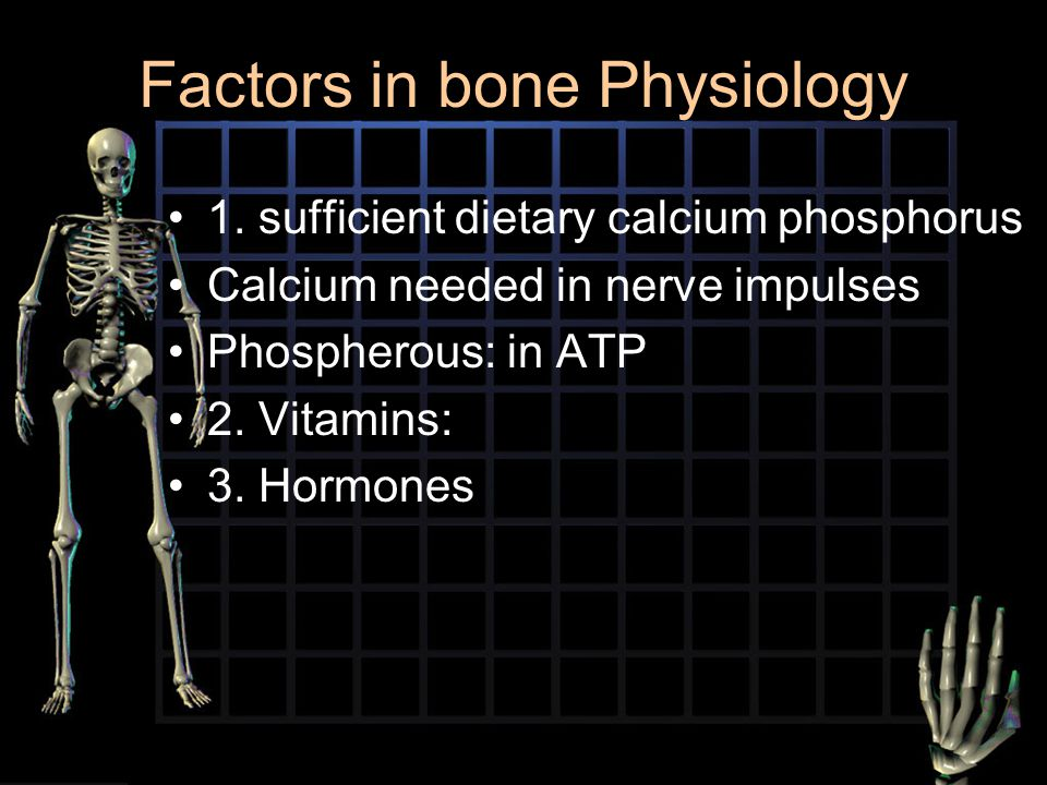 Factors in bone Physiology 1. sufficient dietary calcium phosphorus Calcium needed in nerve impulses Phospherous: in ATP 2. Vitamins: 3. Hormones