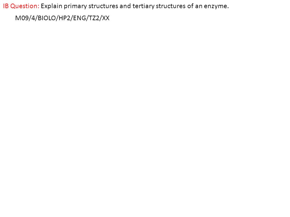 IB Question: Explain primary structures and tertiary structures of an enzyme.