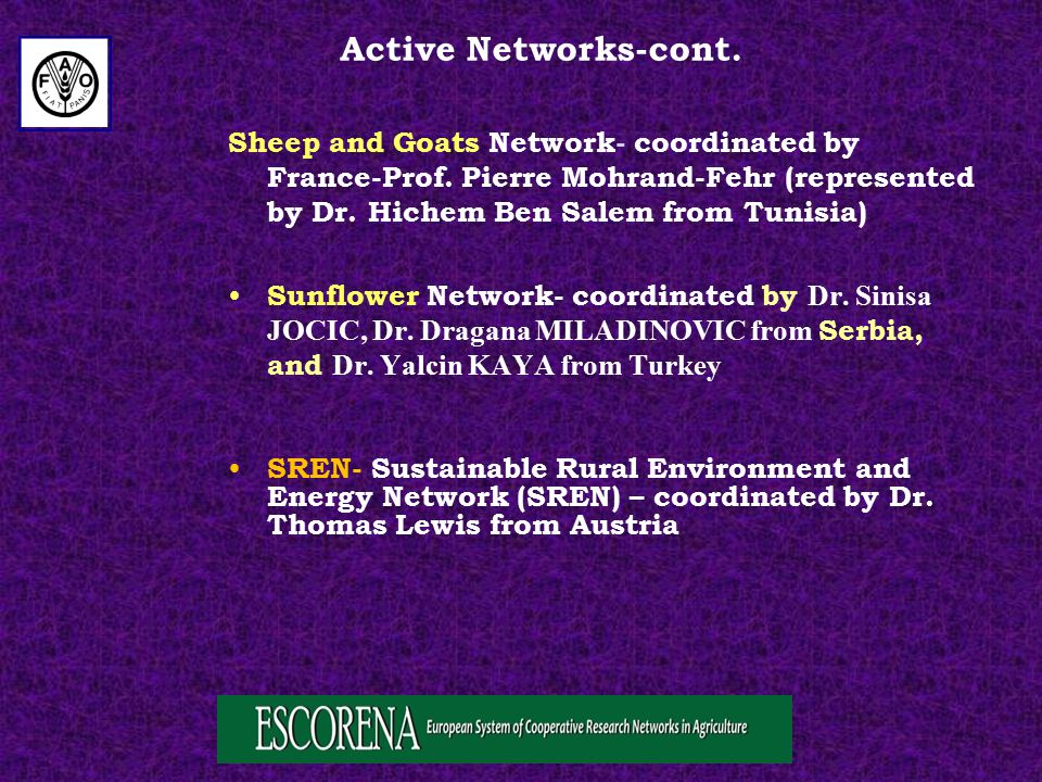 Sheep and Goats Network- coordinated by France-Prof.