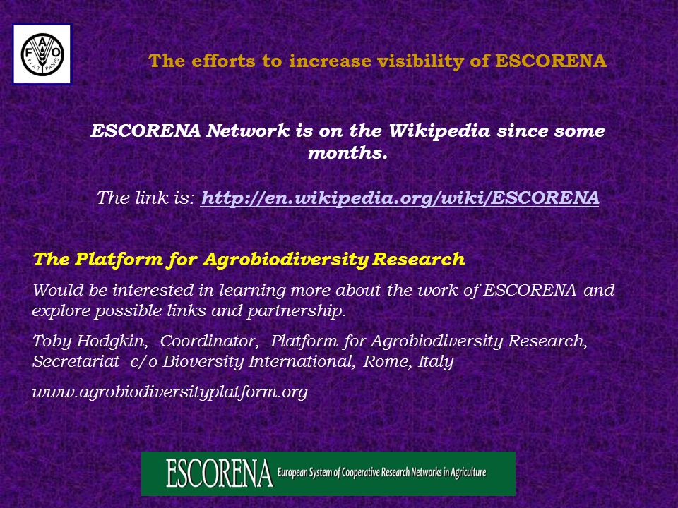 The efforts to increase visibility of ESCORENA ESCORENA Network is on the Wikipedia since some months.