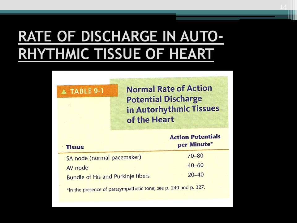 RATE OF DISCHARGE IN AUTO- RHYTHMIC TISSUE OF HEART 14