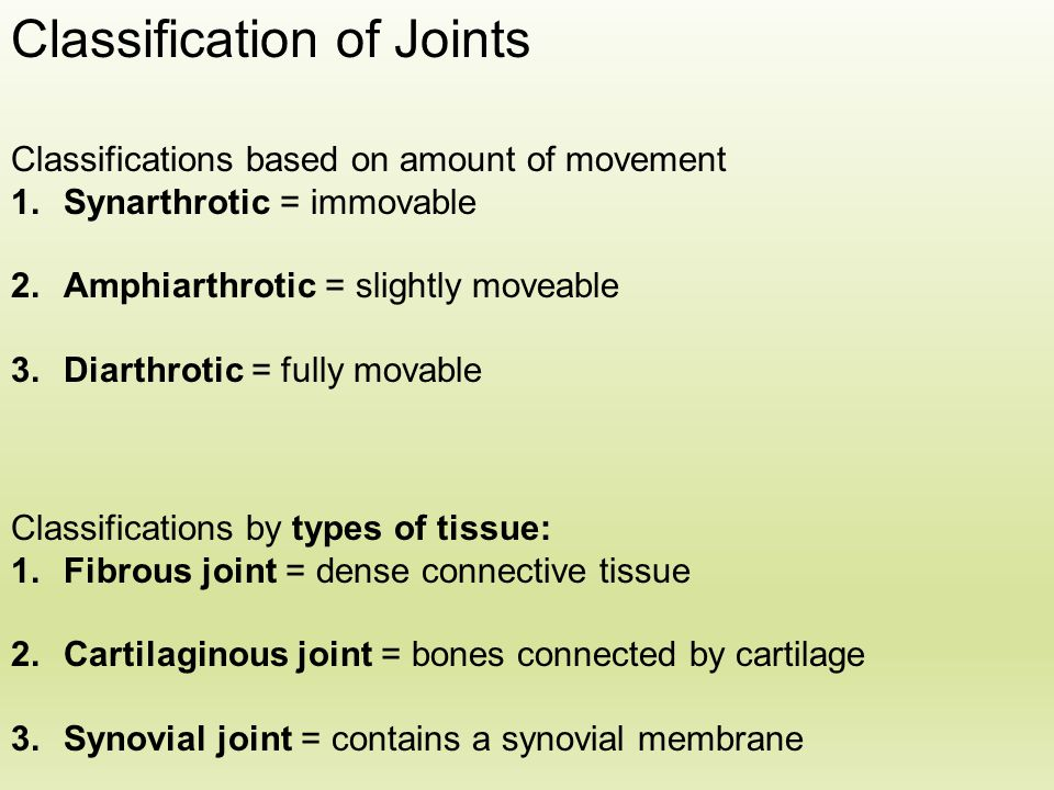 Classification of Joints Classifications based on amount of movement 1.Synarthrotic = immovable 2.Amphiarthrotic = slightly moveable 3.Diarthrotic = f