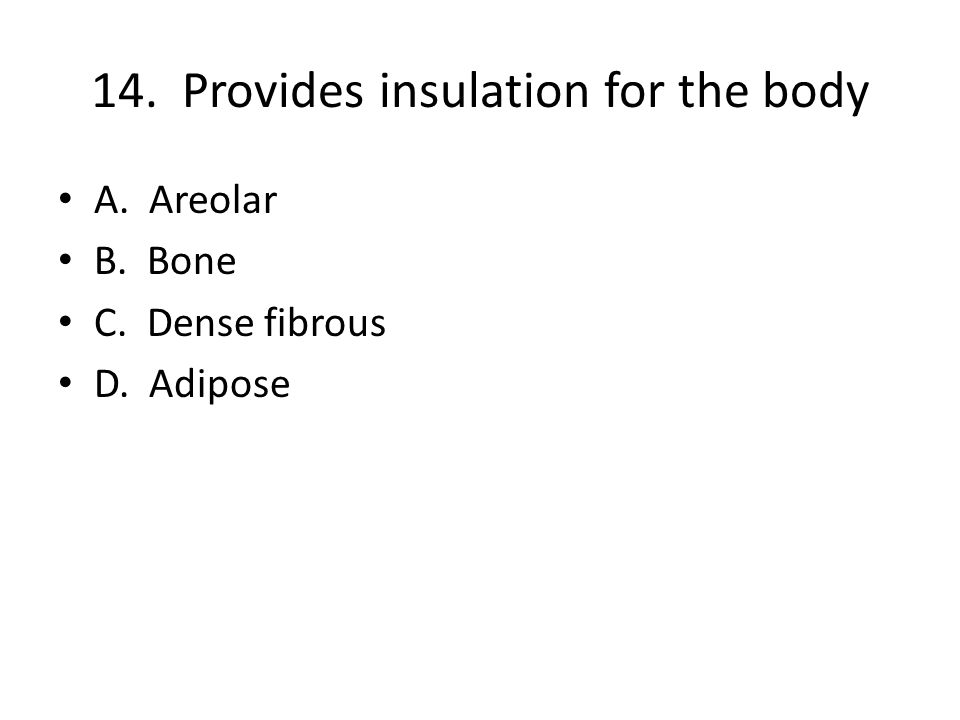 14. Provides insulation for the body A. Areolar B. Bone C. Dense fibrous D. Adipose