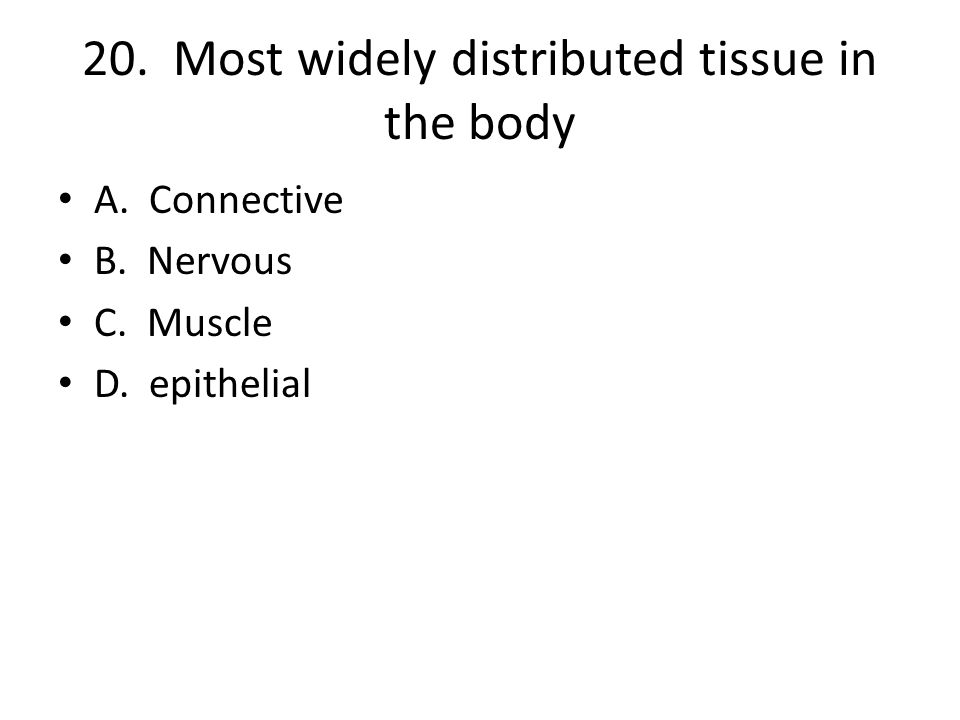 20. Most widely distributed tissue in the body A. Connective B. Nervous C. Muscle D. epithelial