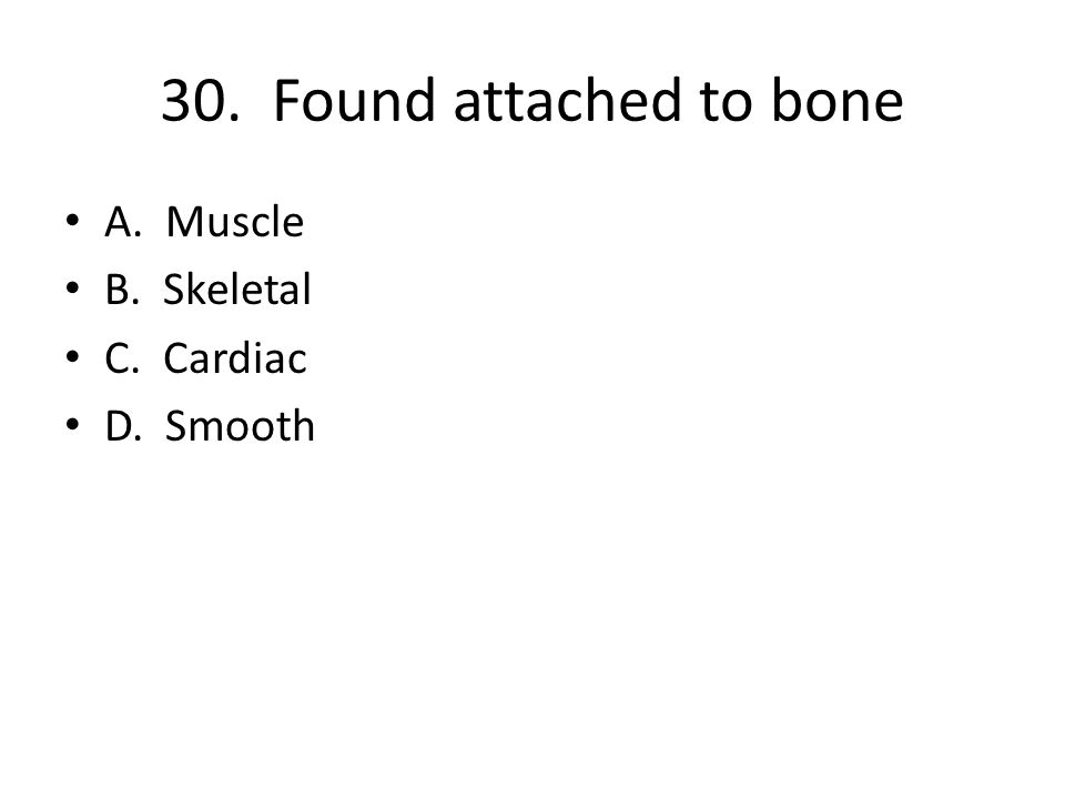 30. Found attached to bone A. Muscle B. Skeletal C. Cardiac D. Smooth