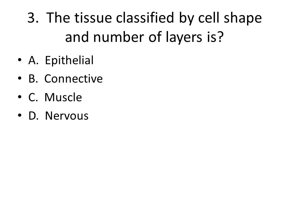 3. The tissue classified by cell shape and number of layers is.