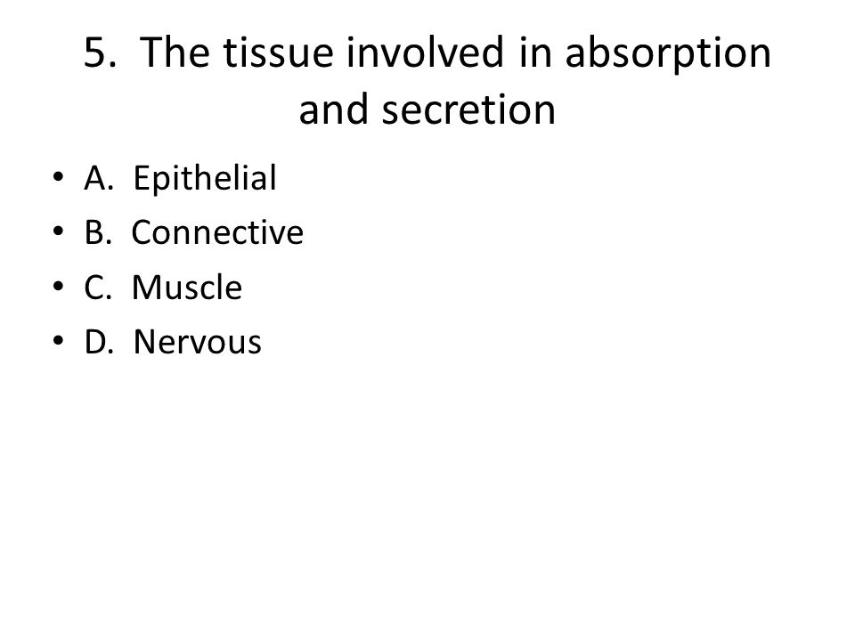 5. The tissue involved in absorption and secretion A. Epithelial B. Connective C. Muscle D. Nervous