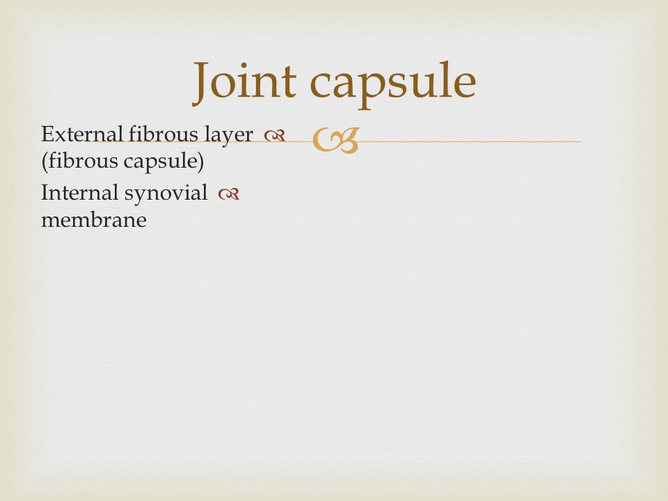  Joint capsule  External fibrous layer (fibrous capsule)  Internal synovial membrane