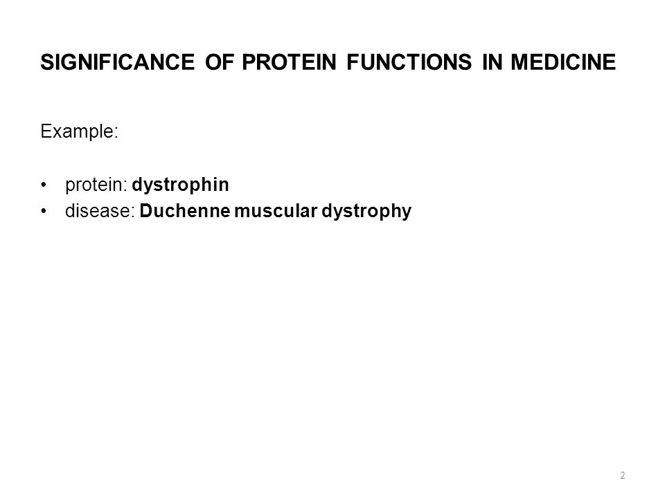 SIGNIFICANCE OF PROTEIN FUNCTIONS IN MEDICINE Example: protein: dystrophin disease: Duchenne muscular dystrophy 2