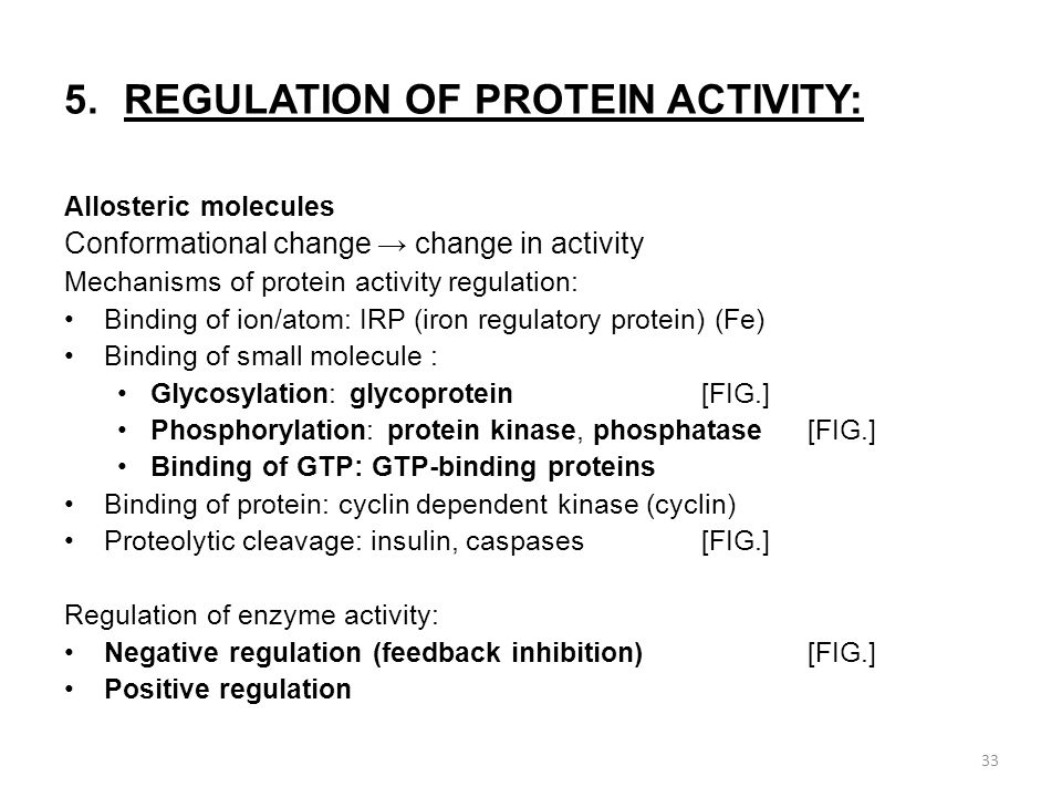 5.REGULATION OF PROTEIN ACTIVITY: Allosteric molecules Conformational change → change in activity Mechanisms of protein activity regulation: Binding of ion/atom: IRP (iron regulatory protein) (Fe) Binding of small molecule : Glycosylation: glycoprotein[FIG.] Phosphorylation: protein kinase, phosphatase[FIG.] Binding of GTP: GTP-binding proteins Binding of protein: cyclin dependent kinase (cyclin) Proteolytic cleavage: insulin, caspases[FIG.] Regulation of enzyme activity: Negative regulation (feedback inhibition)[FIG.] Positive regulation 33