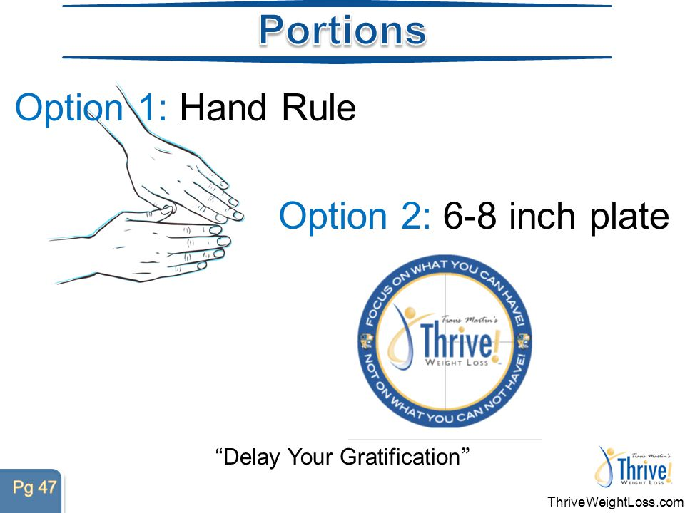 Option 1: Hand Rule Delay Your Gratification Option 2: 6-8 inch plate ThriveWeightLoss.com