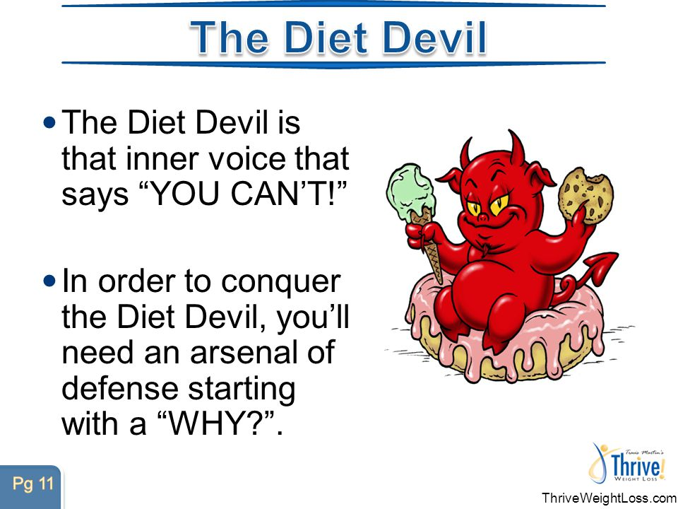 ThriveWeightLoss.com The Diet Devil is that inner voice that says YOU CAN'T! In order to conquer the Diet Devil, you'll need an arsenal of defense starting with a WHY .