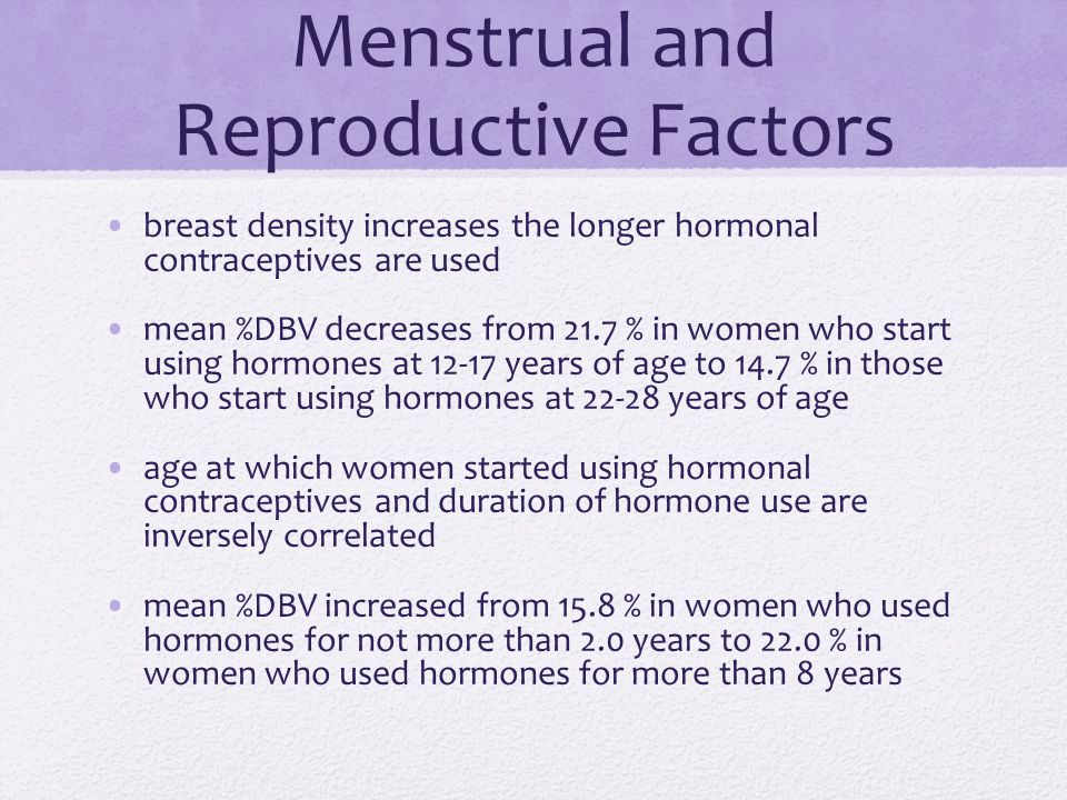 Menstrual and Reproductive Factors breast density increases the longer hormonal contraceptives are used mean %DBV decreases from 21.7 % in women who s