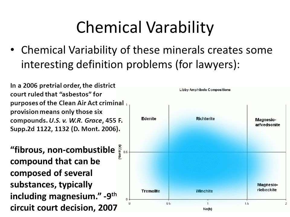 Chemical Varability Chemical Variability of these minerals creates some interesting definition problems (for lawyers): fibrous, non-combustible compound that can be composed of several substances, typically including magnesium. -9 th circuit court decision, 2007 In a 2006 pretrial order, the district court ruled that asbestos for purposes of the Clean Air Act criminal provision means only those six compounds.