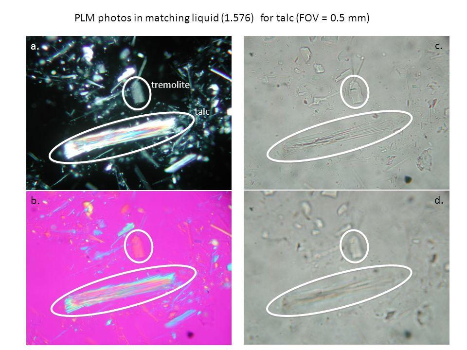 PLM photos in matching liquid (1.576) for talc (FOV = 0.5 mm) a. b. c. d. tremolite talc