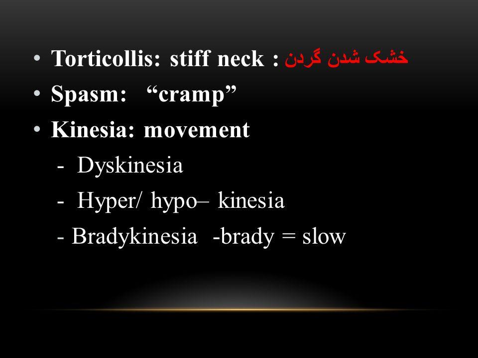 Torticollis: stiff neck : خشک شدن گردن Spasm: cramp Kinesia: movement - Dyskinesia - Hyper/ hypo– kinesia -Bradykinesia -brady = slow