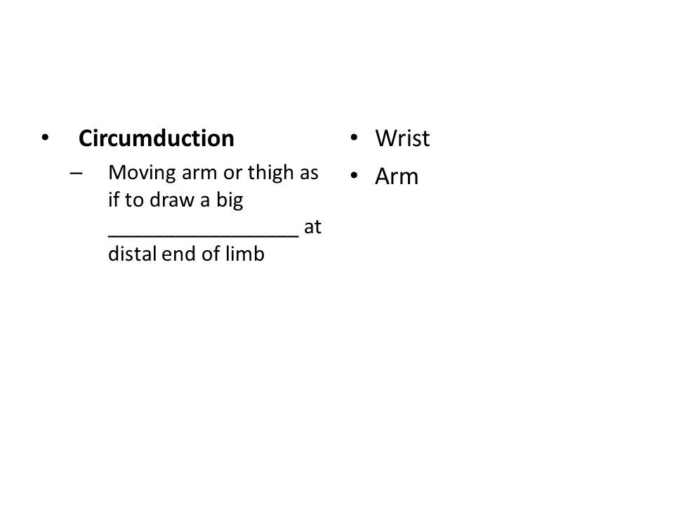 Circumduction – Moving arm or thigh as if to draw a big _________________ at distal end of limb Wrist Arm