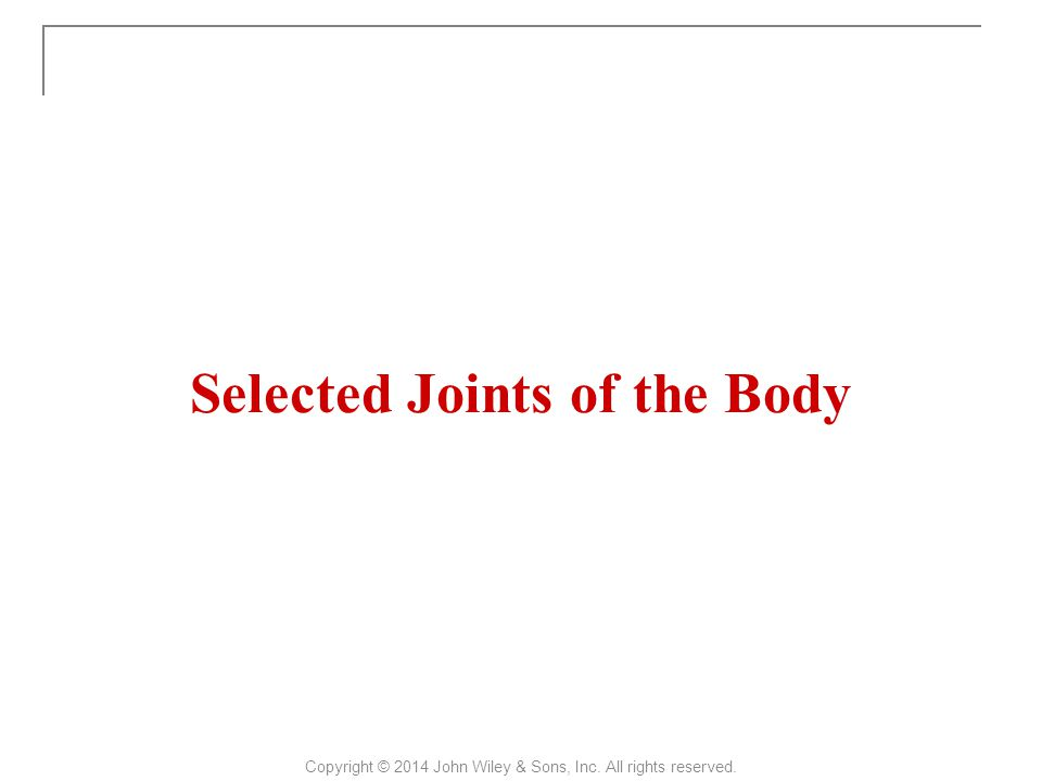 Selected Joints of the Body Copyright © 2014 John Wiley & Sons, Inc. All rights reserved.
