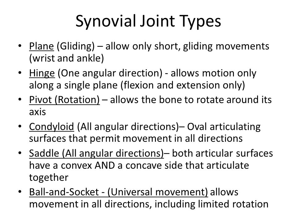 Synovial Joint Types Plane (Gliding) – allow only short, gliding movements (wrist and ankle) Hinge (One angular direction) - allows motion only along