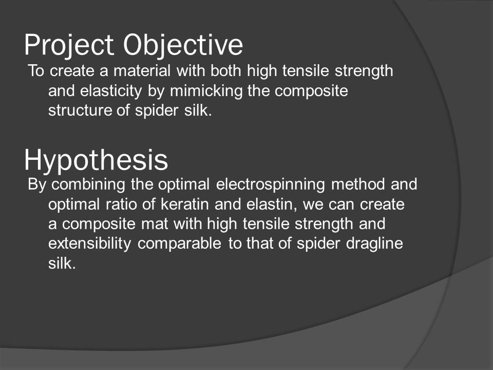 Project Objective To create a material with both high tensile strength and elasticity by mimicking the composite structure of spider silk.