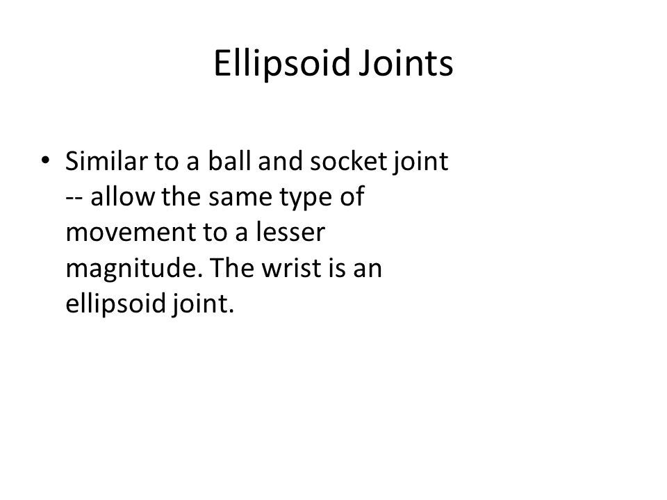 Ellipsoid Joints Similar to a ball and socket joint -- allow the same type of movement to a lesser magnitude.