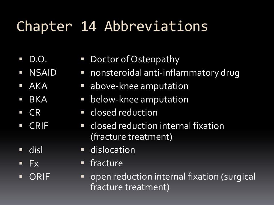 Chapter 14 Abbreviations  MD  OA  RA  C1, C2  L1, L2  LS  T1, T2  EMG  ROM  muscular dystrophy  osteoarthritis  rheumatoid arthritis  cervical vertebrae #1, 2, etc.
