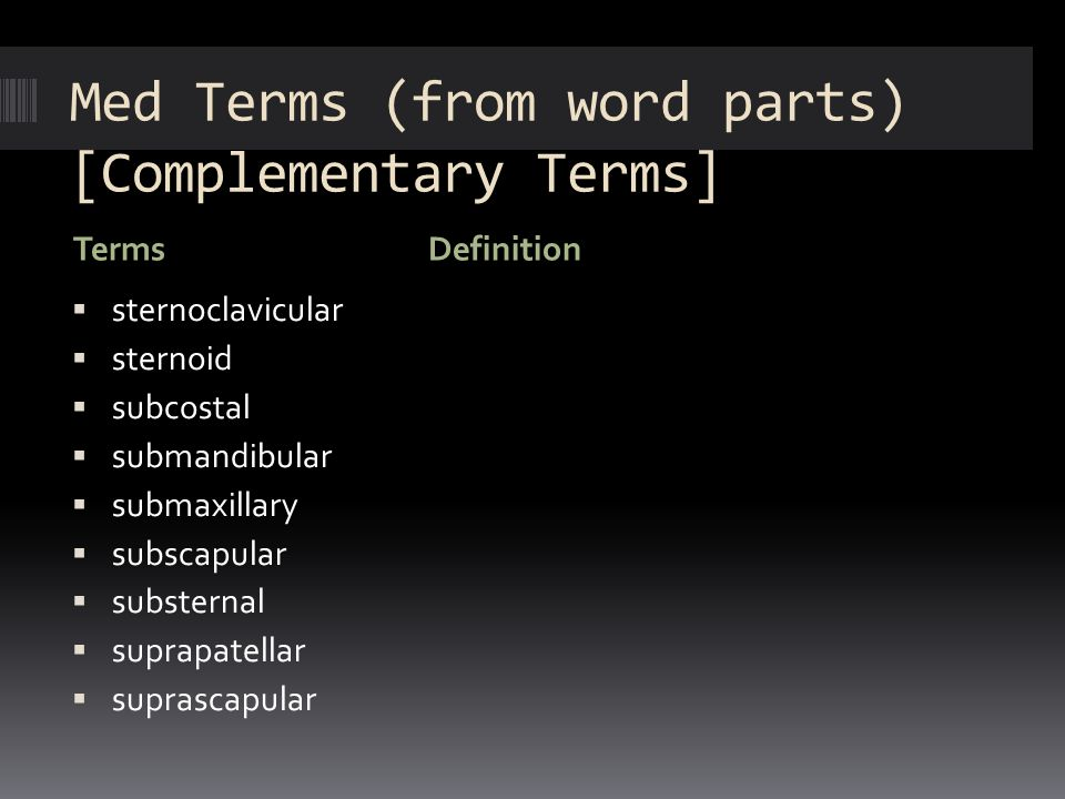 Med Terms (from word parts) [Complementary Terms] TermsDefinition  sternoclavicular  sternoid  subcostal  submandibular  submaxillary  subscapul