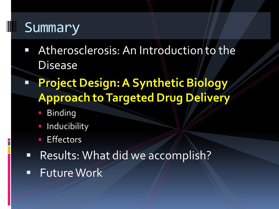  Atherosclerosis: An Introduction to the Disease  Project Design: A Synthetic Biology Approach to Targeted Drug Delivery  Binding  Inducibility  Effectors  Results: What did we accomplish.