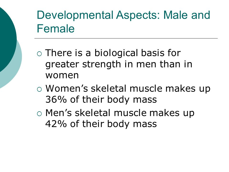 Developmental Aspects: Male and Female  There is a biological basis for greater strength in men than in women  Women's skeletal muscle makes up 36% of their body mass  Men's skeletal muscle makes up 42% of their body mass