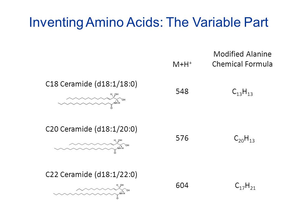 Inventing Amino Acids: The Variable Part C18 Ceramide (d18:1/18:0) C20 Ceramide (d18:1/20:0) C22 Ceramide (d18:1/22:0) M+H + Modified Alanine Chemical