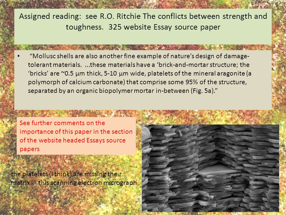 Assigned reading: see R.O. Ritchie The conflicts between strength and toughness.