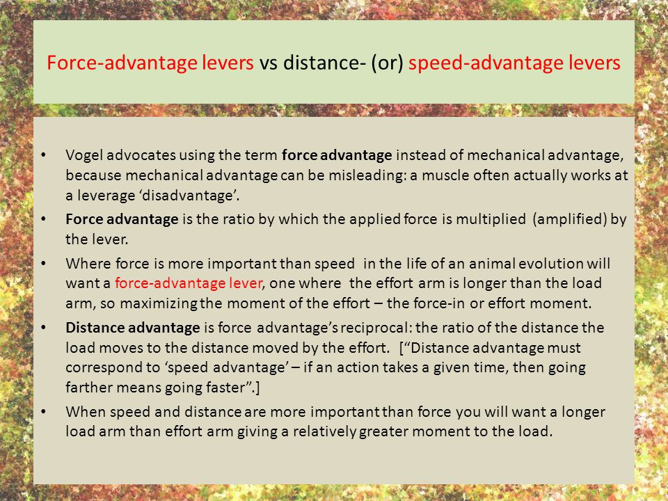 Force-advantage levers vs distance- (or) speed-advantage levers Vogel advocates using the term force advantage instead of mechanical advantage, because mechanical advantage can be misleading: a muscle often actually works at a leverage 'disadvantage'.