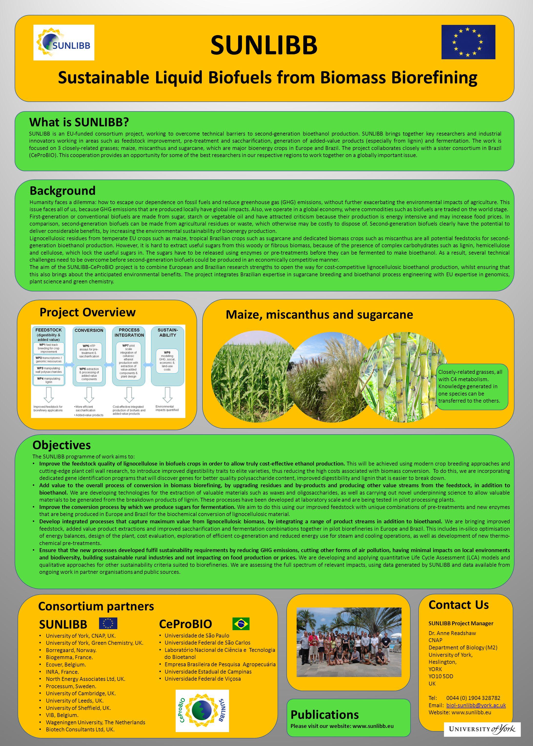 SUNLIBB Sustainable Liquid Biofuels from Biomass Biorefining What is SUNLIBB.