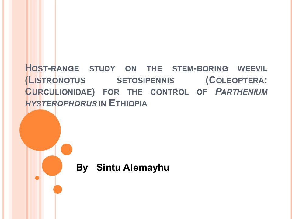 M ATERIALS AND M ETHODS Area description The experiment was conducted under quarantine condition at Ambo Plant Protection Research Center (APPRC) 109km West of Addis Ababa.