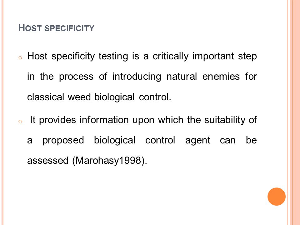 C ONT … Evaluation of the host range of any bioagent comprises of no-choice tests (test plant species only), followed by choice tests (test plant with Parthenium) if feeding, oviposition or development is observed under no-choice testing on non-target species The safety of Listronotus setosipennis (Hustache) to non-target plants was tested under quarantine on economically important members of the Asteraceae family and indigenous weed species through no-choice tests