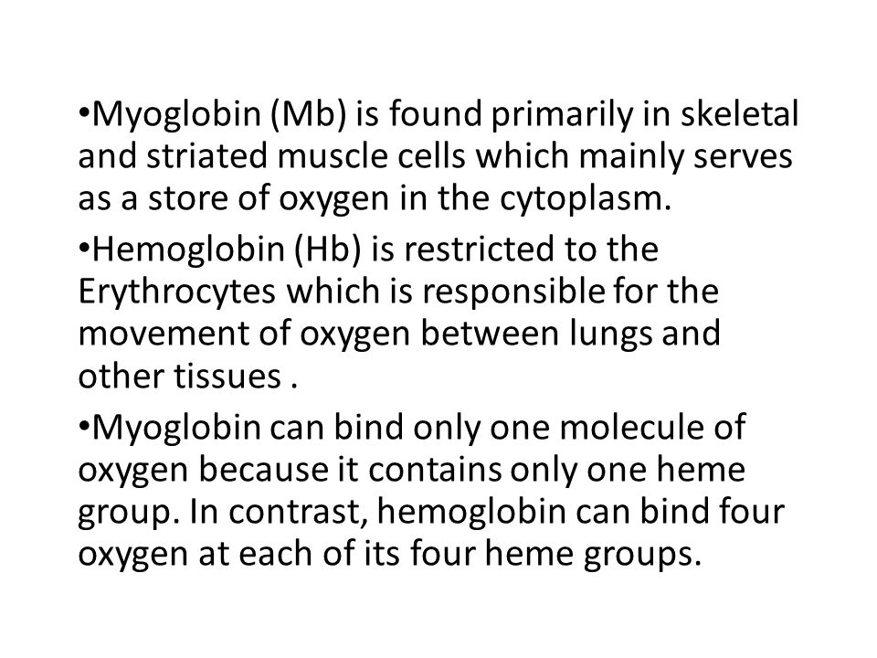 Myoglobin (Mb) is found primarily in skeletal and striated muscle cells which mainly serves as a store of oxygen in the cytoplasm.
