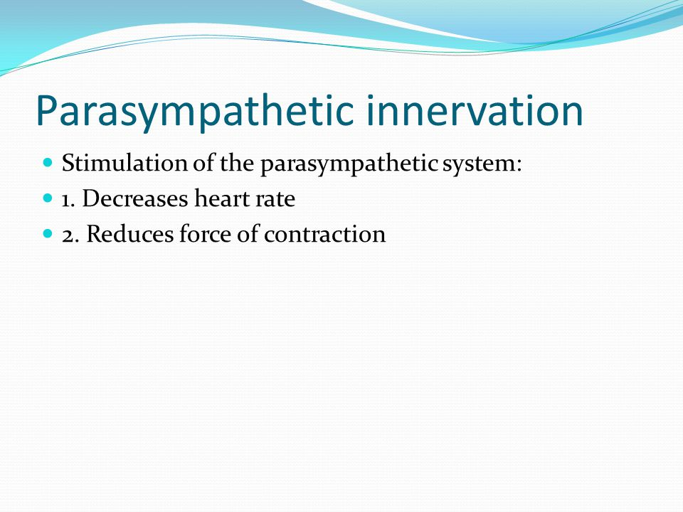 Parasympathetic innervation Stimulation of the parasympathetic system: 1.