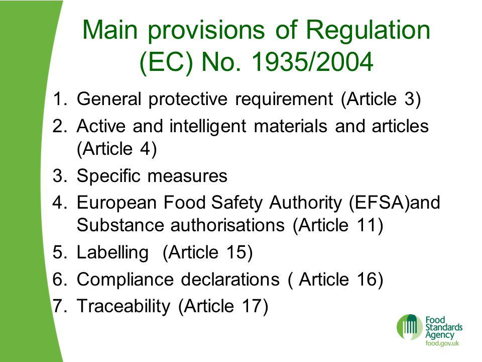 Main provisions of Regulation (EC) No.