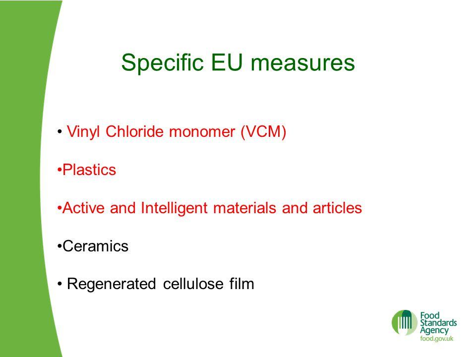 Specific EU measures Vinyl Chloride monomer (VCM) Plastics Active and Intelligent materials and articles Ceramics Regenerated cellulose film