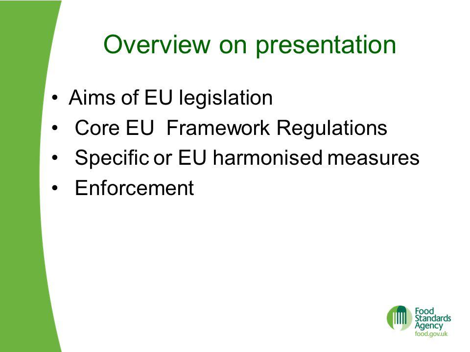 Overview on presentation Aims of EU legislation Core EU Framework Regulations Specific or EU harmonised measures Enforcement