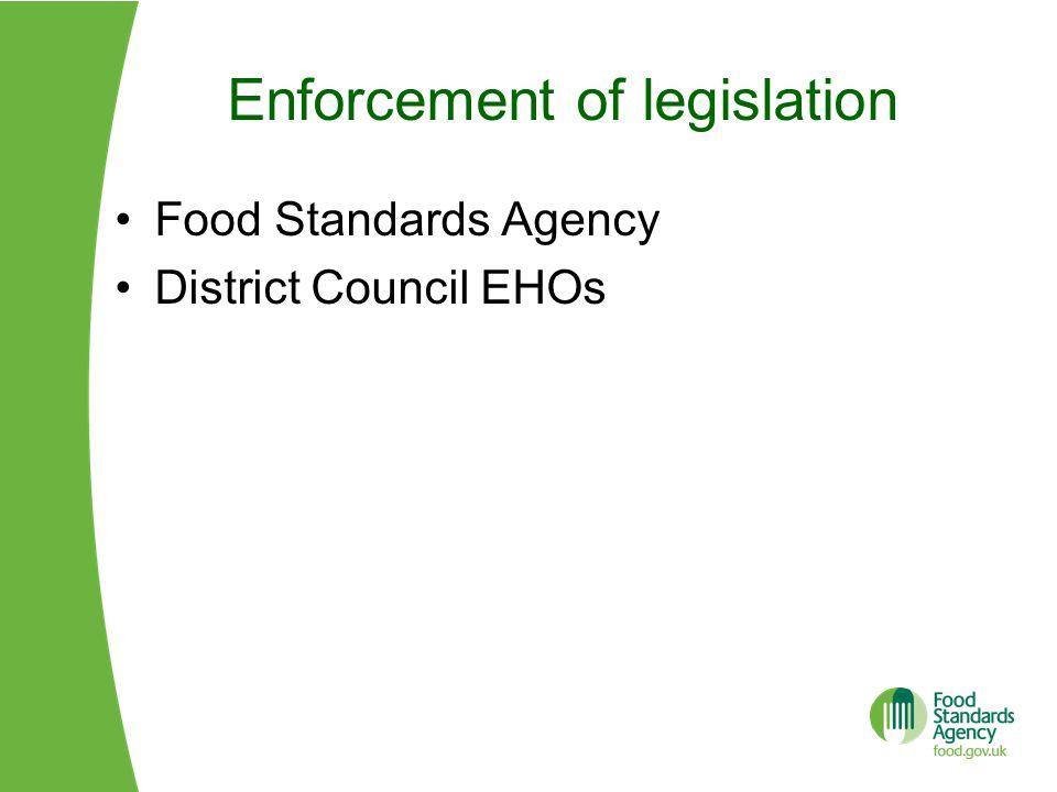 Enforcement of legislation Food Standards Agency District Council EHOs