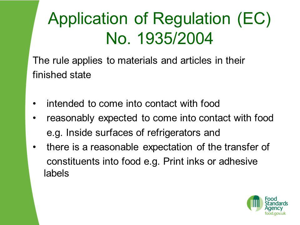 Application of Regulation (EC) No.